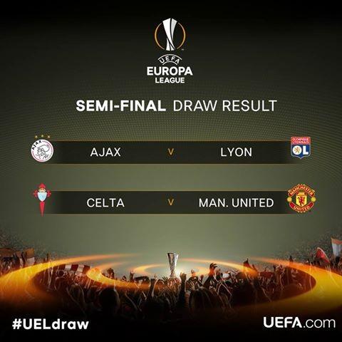 ពាន Europa League ! Man Utd  ប៉ះ Celta de Vigo ,  AFC Ajax ជួប  Lyon វគ្គពាក់កណ្ដាលផ្ដាច់ព្រ័ត្រ